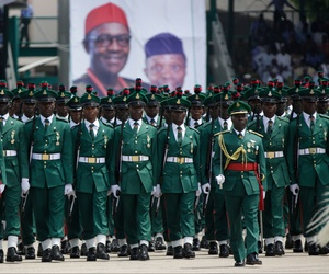 Nigeria Soldiers parade during the inauguration of the new Nigerian President, Muhammadu Buhari, in Abuja , Nigeria, Friday, May 29, 2015.