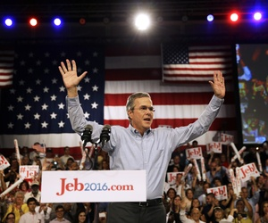 Former Florida Gov. Jeb Bush takes the stage as he formally join the race for president, Monday, June 15, 2015, at Miami Dade College in Miami.