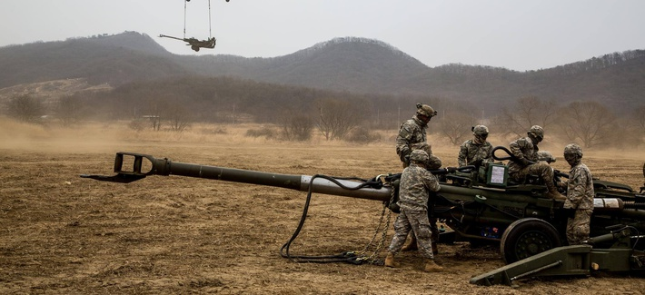 Soldiers assigned to 2nd Stryker Brigade Combat Team, 25th Infantry Division, conduct air assault sling load training on Warrior Base, New Mexico Range, in the Republic of Korea, on March 18, 2015.