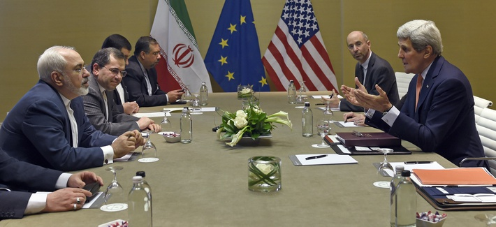 U.S. Secretary of State John Kerry, right, during official talks with Iranian Foreign Minister Mohammad Javad Zarif, left, in Geneva, Switzerland, Saturday, May 30, 2015.