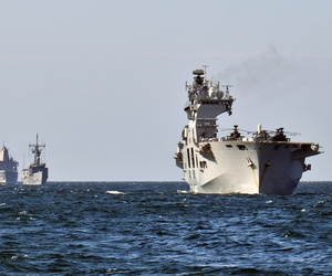 Three NATO ships steam in the Baltic as part of exercise Baltic Operations 2015.