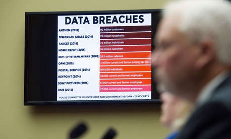 A chart of data breaches is shown on Capitol Hill in Washington, Tuesday, June 16, 2015, as witnesses testify before the House Oversight and Government Reform committee's hearing on the Office of Personnel Management (OPM) data breach.