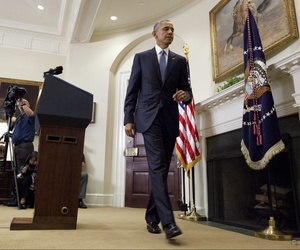 President Barack Obama walk from the podium after speaking in the Roosevelt Room of the White House in Washington, Wednesday, June 24, 2015.