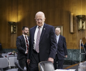 Director of National Intelligence James Clapper arrives on Capitol Hill in Washington, Thursday, Feb. 26, 2015.