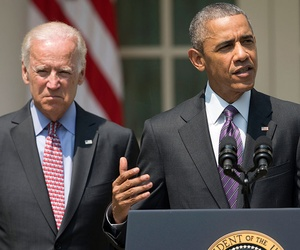 Accompanied by Joe Biden, the president spoke Wednesday from the Rose Garden.
