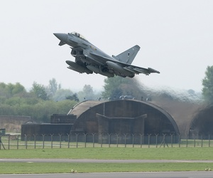 A Royal Air Force Typhoon fighter jet takes off as part of its Baltic Air Policing mission.