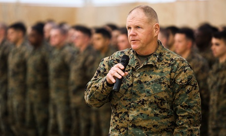 Lt . Gen. Robert Neller, commander of U.S. Marine Corps Forces Command and U.S. Marine Corps Forces Europe, speaks during a transfer of authority ceremony at Mihail Kogalniceanu, Romania, Feb. 9, 2015.