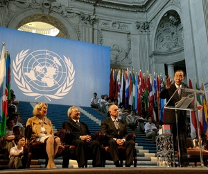 U.N. Secretary General Ban Ki-moon, foreground center, speaks at a ceremony for the 70th anniversary of the United Nations in San Francisco, Friday, June 26, 2015.