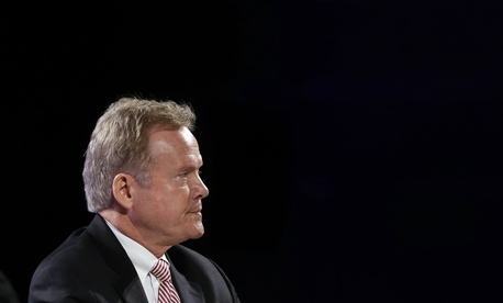Former Virginia Sen. Jim Webb listen's to an audience member question while speaking at the National Sheriffs' Association presidential forum, Tuesday, June 30, 2015, in Baltimore.