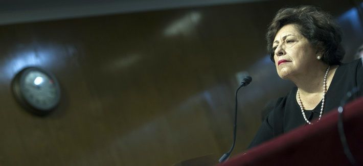Katherine Archuleta, the director of the Office of Personnel Management, testifies in front of a Senate panel, on June 23, 2015.