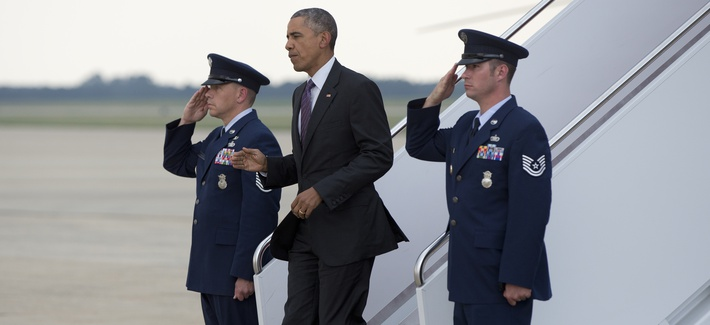 President Barack Obama arrives on Air Force One, Wednesday, July 1, 2015, in Andrews Air Force Base, Md.