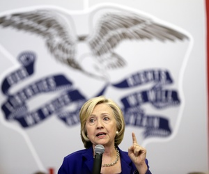 Democratic presidential candidate Hillary Rodham Clinton speaks during a campaign stop at the Iowa City Public Library, Tuesday, July 7, 2015, in Iowa City, Iowa.