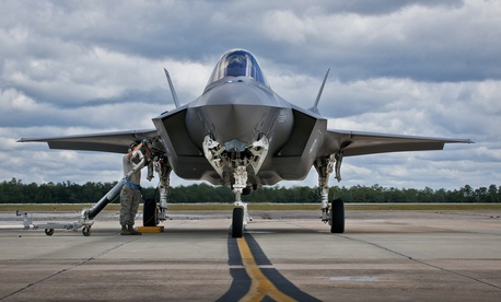 An F-35A is refueled at Eglin Air Force Base, Fla, on Sept. 26, 2014.
