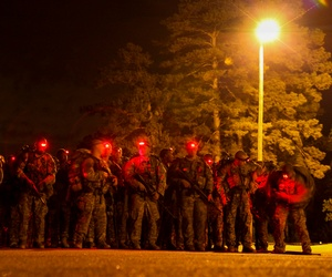 U.S. Army Soldiers conduct a 12-mile foot march during the Ranger Course on Fort Benning, GA., April 23, 2015.