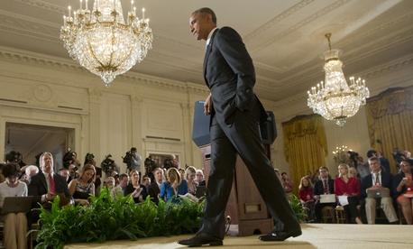 President Barack Obama walks away from the podium after answering questions about the Iran nuclear deal during a news conference in the East Room of the White House in Washington, Wednesday, July 15, 2015.