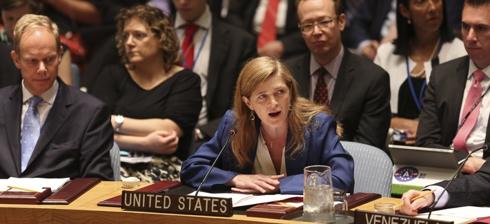 United States Ambassador to the United Nations Samantha Power speaks after a vote in the Security Council at U.N. headquarters, Monday, July 20, 2015.
