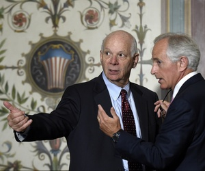 Senate Foreign Relations Committee Chairman Sen. Bob Corker, R-Tenn., right, talks with the committee's ranking member Sen. Ben Cardin, D-Md. on Capitol Hill in Washington, Thursday, July 16, 2015.