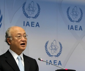 Director General of the International Atomic Energy Agency, IAEA, Yukiya Amano of Japan addresses the media during a news conference after a meeting of the IAEA board of governors at the International Center in Vienna, Austria, Monday June 8, 2015.