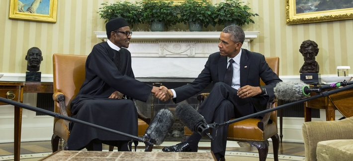 President Barack Obama, right, meets with Nigerian President Muhammadu Buhari, in the Oval Office of the White House, on Monday, July 20, 2015.
