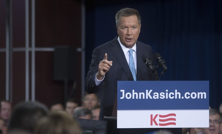 Ohio Gov. John Kasich announces he is running for the 2016 Republican party's nomination for president during a campaign rally at Ohio State University, Tuesday, July 21, 2015.