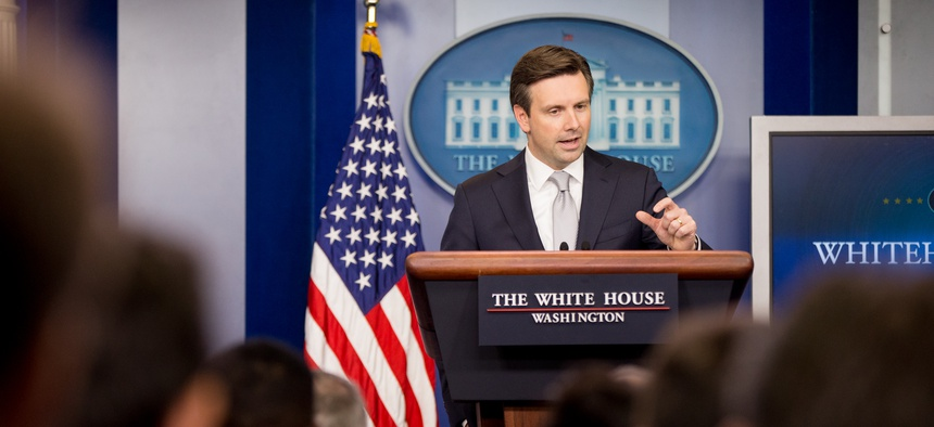 White House press secretary Josh Earnest talks to the media during the daily press briefing at the White House, Thursday, July 9, 2015, in Washington.