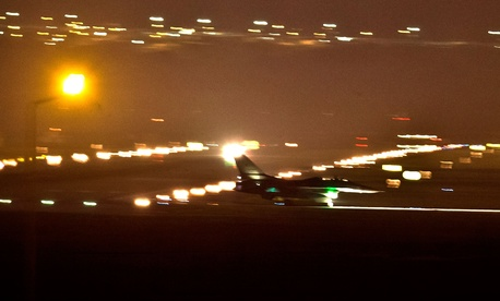 A Turkish fighter jets taxies on the runway after a night landing at the Incirlik airbase, southern Turkey, Aug. 31, 2013.