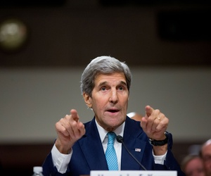 Secretary of State John Kerry testifies at a Senate Foreign Relations Committee hearing on Capitol Hill, in Washington, Thursday, July 23, 2015.