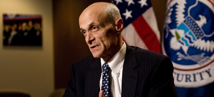 Then Homeland Security Secretary Michael Chertoff responds to a question while being interviewed by The Associated Press, Wednesday, Jan. 7, 2009.