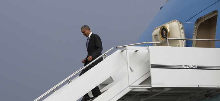 President Barack Obama walks down the steps of Air Force One as he arrives at Addis Ababa Bole International Airport, on Sunday, July 26, 2015, in Addis Ababa.
