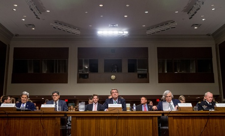 Secretary of State John Kerry, Treasury Secretary Jacob Lew, Defense Secretary Ash Carter, Energy Secretary Ernest Moniz and Joint Chiefs Chairman Gen. Martin Dempsey, prepare to testify on Capitol Hill in Washington, Wednesday, July 29, 2015.