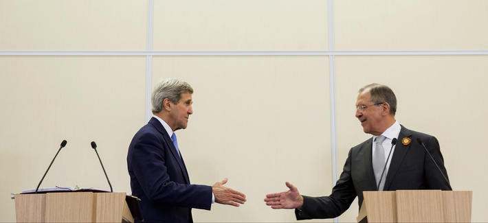 Russian Foreign Secretary Sergey Lavrov, right, and U.S. Secretary of State John Kerry, shake hands during a news conference at the presidential residence of Bocharov Ruchey in Sochi, Russia, Tuesday May 12, 2015.