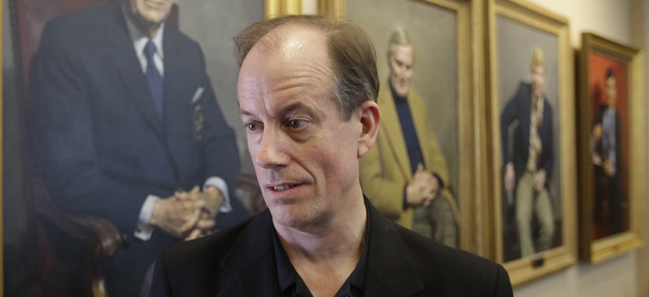 Thomas Drake, a former National Security Agency senior executive who leaked information to the media, speaks with reporters at the University of Utah's Hinckley Institute of Politics, Thursday, April 10, 2014, in Salt Lake City.