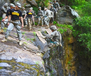 U.S. Army Soldiers participate in rappel training during the Ranger Course on Camp Merrill in Dahlonega, Ga., July 12, 2015.