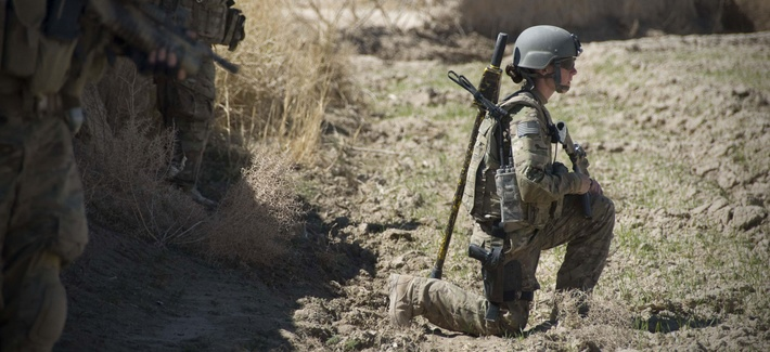 A U.S. Cultural Support Team service member, assigned to Special Operations Task Force – South, keeps an eye out for threats during a security patrol March 9, in Panjwai District, Kandahar province, Afghanistan.