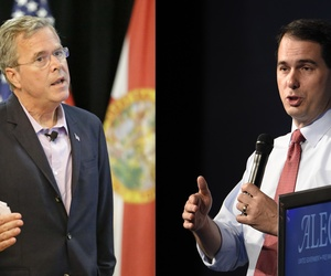 The GOP presidential candidacies of Jeb Bush, left, and Scott Walker, have split a pair of old friends and former Romney campaign advisors.