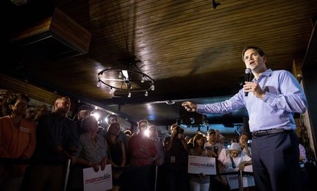 Republican presidential candidate, Sen. Marco Rubio, R-Fla., speaks during a rally at Town Hall in Cleveland, Wednesday, Aug. 5, 2015.