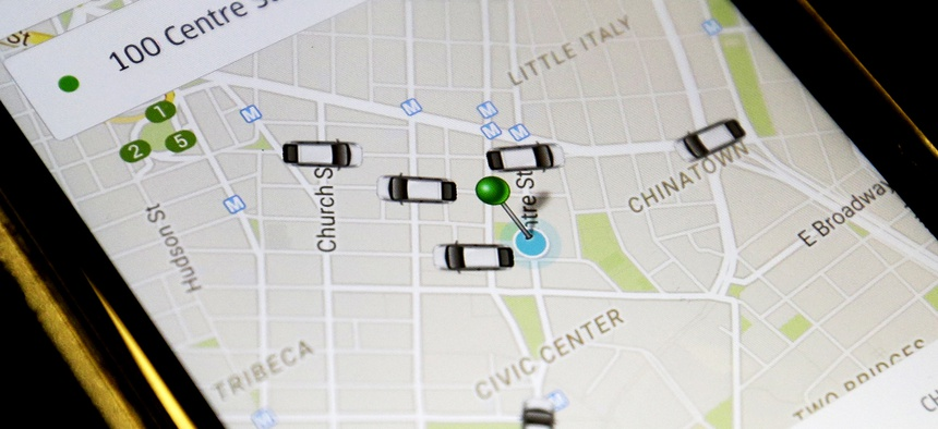 The Uber app shows cars available for a pickup at 100 Centre St. earlier this year.