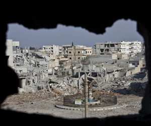 A 2014 photo of rubble in Kobani, Syria, where the town's defenders clashed with ISIS.