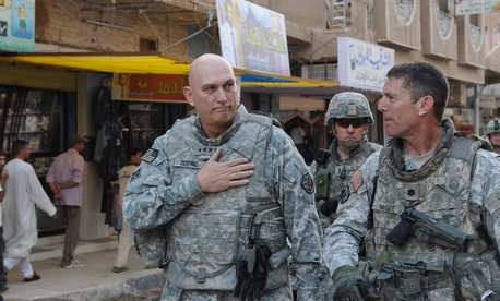 Gen. Ray Odierno, then-commanding general, Multi-National Forces-Iraq, walks through the streets of Samarra to visit the locals in October 2008.