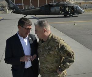 Then-Deputy Defense Secretary Ashton Carter talks with then-Lt. Gen. Mark Milley in Kabul, Afghanistan, on Sept. 16, 2013.