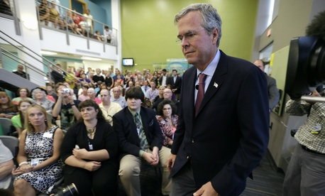 "Presidential candidate Jeb Bush said he was ""struggling"" with whether he would renew limits to controversial interrogation techniques deemed torture, in Davenport, Iowa, on Aug. 13, 2015."