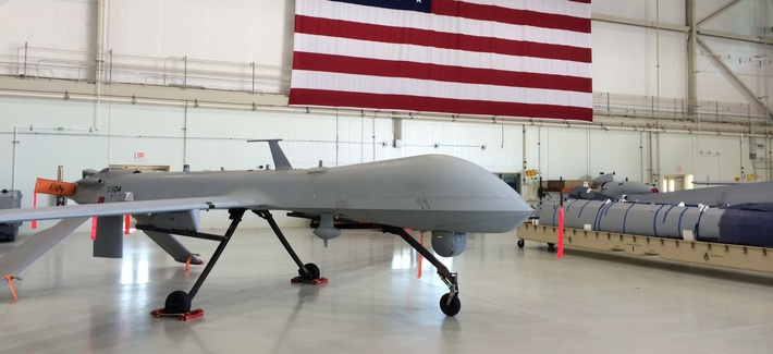 A Lonely Predator Drone Sits In An Airplane Hanger At The Creech Air Force Base