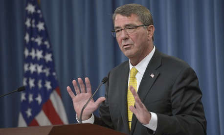 Defense Sec. Ash Carter said it's time to close Guantanamo at a Pentagon press briefing, Thursday, Aug. 20, 2015.