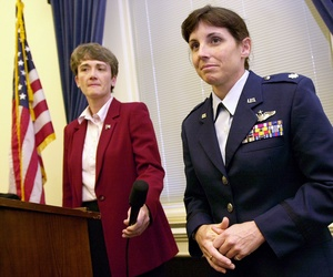 In 2002, then-Lt. Col. Martha McSally appeared with Rep. Heather Wilson, a military veteran, to support legislation forbidding the Pentagon to force military women to wear abayas on deployment in Saudi Arabia.