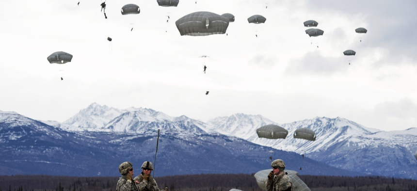 Paratroopers with the 25th Infantry Division establish communications during an exercise at Joint Base Elmendorf-Richardson, Alaska, on March 18, 2015.