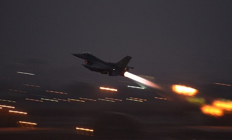 A U.S. Air Force F-16 takes off from Incirlik Air Base in Turkey on Aug. 12, 2015.