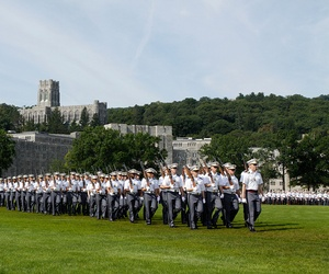 The Corps of Cadets filled the Plain and family and friends filled the stands, as the Class of 2017 officially entered the Corps of Cadets during the Acceptance Day Parade at the U.S. Military Academy at West Point, Aug. 17, 2013.