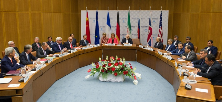 EU High Representative for Foreign Affairs and Security Policy Federica Mogherini attends with foreign ministers at the UN headquarter, the venue of the nuclear talks in Vienna, Austria on July 14, 2015.