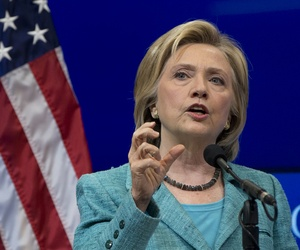 Democratic presidential candidate Hillary Rodham Clinton speaks at the Brookings Institution in Washington, Wednesday, Sept. 9, 2015.