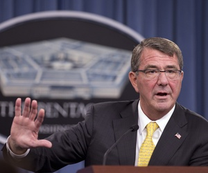 Defense Secretary Ash Carter speaks during a news conference at the Pentagon, Thursday, Aug. 20, 2015.